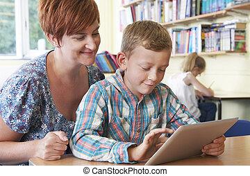 教室, 学校, タブレット, 生徒, デジタル, 使うこと, 教師