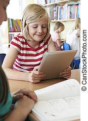 教室, 学校, タブレット, 生徒, デジタル, 基本, 使うこと