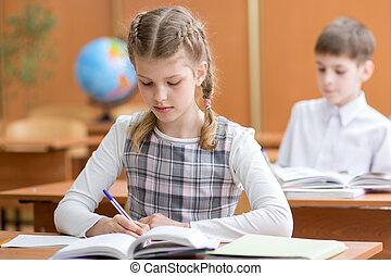教室, 学校, ノート, 女の子, 執筆