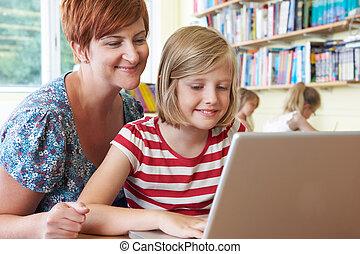 教室, 学校, ラップトップ・コンピュータ, 生徒, 使うこと, 教師