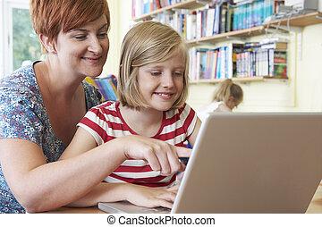 教室, 学校, ラップトップ, コンピュータ, 生徒, 使うこと, 教師