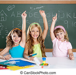 教室, 学校, 利発, グループ, 子供, 学生