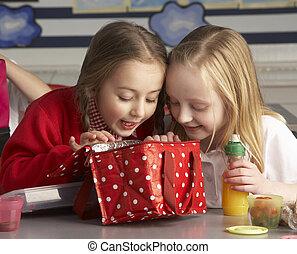 教室, 学校, 生徒, 予備選挙, 昼食, 楽しむ, パックされた