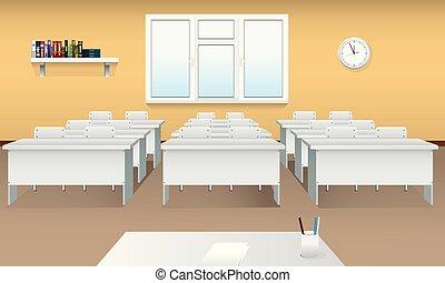 教室, 学校, room., 大きい, 現実的, 窓, 内部, 前部, ビュー。, ミーティング, 空, classroom.