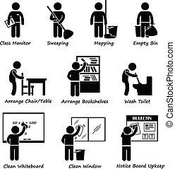 教室, 学生, 義務, 名簿