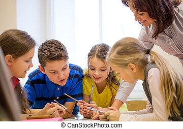 教室, 學校孩子, 組, 寫, 測試