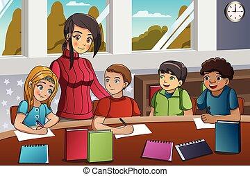 教室, 教師, 学生