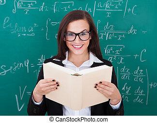 教室, 本, 読書, 教師