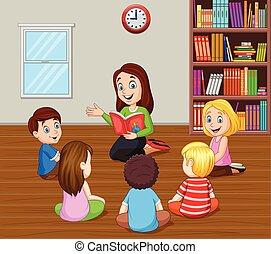 教室, 物語を言うこと, 子供, 教師