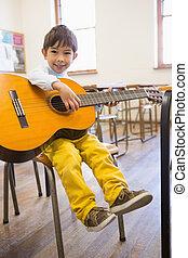 教室, 生徒, かわいい, ギターの遊ぶこと