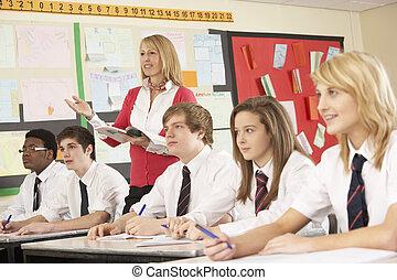 教室, 生徒, ティーンエージャーの, 教師, 勉強