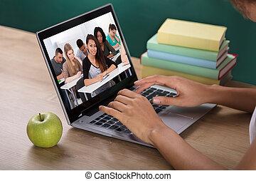 教室, 生徒, ビデオ, 教師, 会議