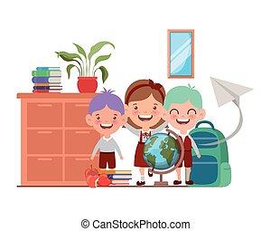 教室, 生徒, 学校, グループ, 供給