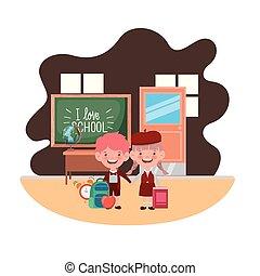 教室, 生徒, 学校, 恋人, 供給