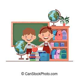 教室, 生徒, 学校, suppliesin, 恋人
