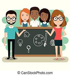 教室, 生徒, 恋人, 教師