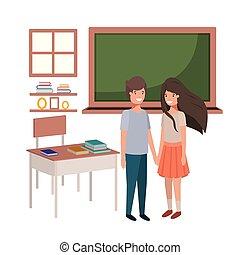 教室, 生徒, 恋人, 若い