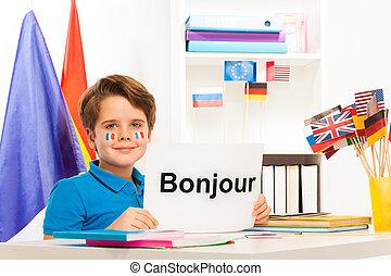 教室, 男の子のモデル, フランス語, 勉強, 机