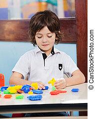 教室, 男の子, ブロック, 遊び