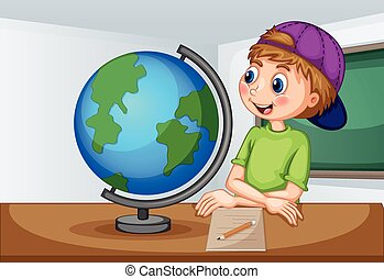 教室, 男の子, 地球, 見る