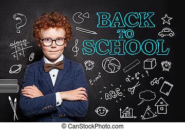 教室, 男の子, 学校, 概念, 背中, バックグラウンド。, 黒板, 学生, 子供, 痛みなさい, 幸せ