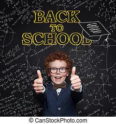 教室, 男の子, 学校, 概念, 親指, 提示, の上, 背中, バックグラウンド。, 黒板, 子供, 幸せ