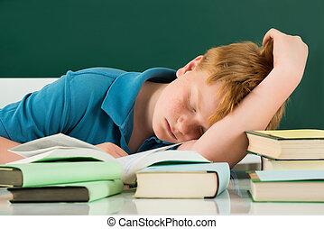 教室, 男の子, 睡眠