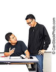 教室, 男性の教師, 学生