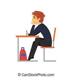 教室, 男性的学生, 学校, 学习, 坐, 描述, 制服, 矢量, 学院, 关闭, 桌子, 察看, 眼睛, 边, 男学生