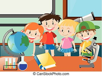 教室, 科学, 女の子, 勉強, 男の子