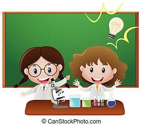 教室, 科学, 女の子, 2