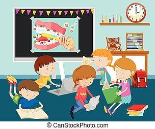 教室, 電腦, 孩子, 工作