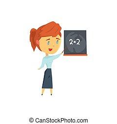 教室, 黒板, 特徴, 若い, イラスト, 教師, ベクトル, 女性, レッスン, 漫画