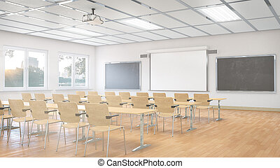 教室, interior., illustration., 3d