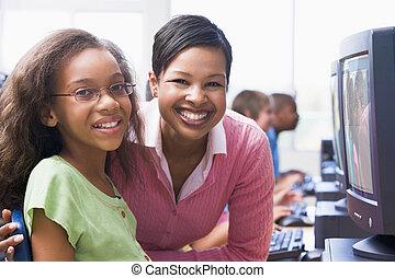 教師, そして, 学生, コンピュータにおいて, ターミナル, ∥で∥, 生徒, 中に, 背景, (selective,...