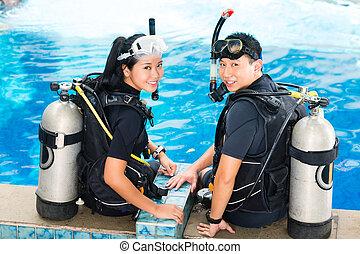 教師, そして, 学生, 中に, a, ダイビング, 学校