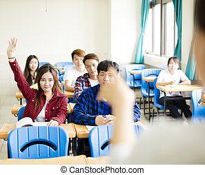 教師, ∥で∥, グループ, の, 団体学生, 中に, 教室