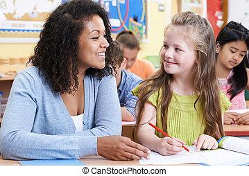 教師, ∥で∥, 女性, 小学校, 生徒, クラスで