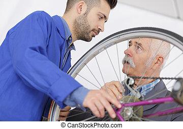 教師, ∥で∥, 生徒, 中に, 仕組み, 上に働く, 自転車