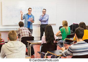 教師, ∥で∥, 生徒, 中に, ∥, 教室