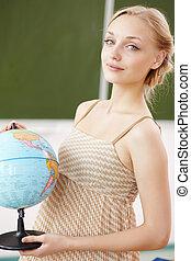 教師, ∥において∥, 学校, ∥で∥, a, 地球
