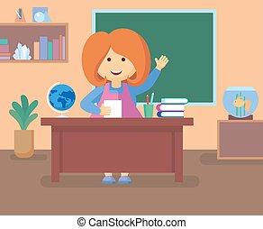 教師, クラスで, room.