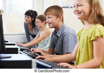 教師, コンピュータ, 生徒, 基本, マレ, クラス