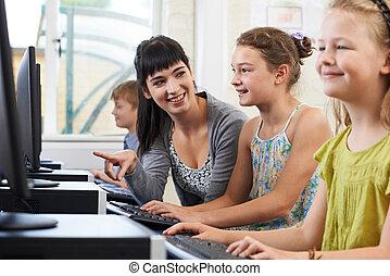 教師, コンピュータ, 生徒, 女性, 基本, クラス