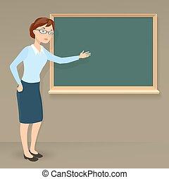 教師, ビジネス, 提示, 若い, イラスト, ∥あるいは∥, 主題, ベクトル, 女性, ブランク, chalkboard., 教育, 漫画