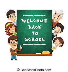 教師, ポイント, へ, ∥, 黒板, ∥で∥, 歓迎, 学校に戻って, phr