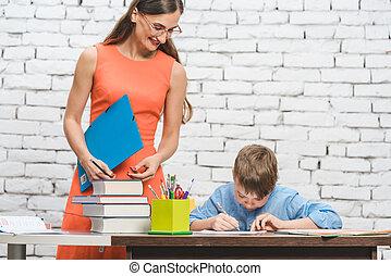 教師, 助力, 学生, ∥で∥, 困難, 仕事, 中に, 学校