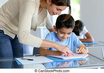 教師, 助力, 若い少年, ∥で∥, 執筆, レッスン