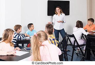 教師, 図画, 年齢, 基本, 微笑, 子供