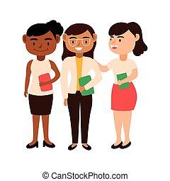 教師, 女性, interracial, 特徴, 労働者, avatars